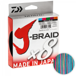 Плетеный шнур Daiwa J-braid X8 300м. 0.18мм. MULTICOLOR