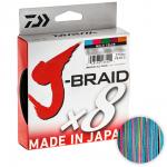 Плетеный шнур Daiwa J-braid X8 300м. 0.22мм. MULTICOLOR