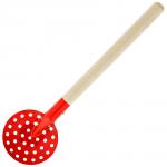 Черпак SPIKE металлический с деревянной ручкой (красный)