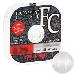 Леска флюорокарбоновая Owner Tournament Line Fluorocarbon 50м. 0.18мм. CLEAR