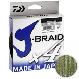 Плетеный шнур Daiwa J-braid X4 135м. 0.21мм. DARK GREEN