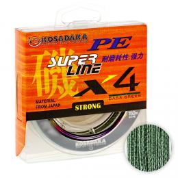 Плетеный шнур KOSADAKA SUPER PE X4 150м. 0.25мм. DARK GREEN