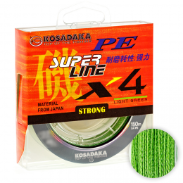 Плетеный шнур KOSADAKA SUPER PE X4 150м. 0.12мм. LIGHT GREEN