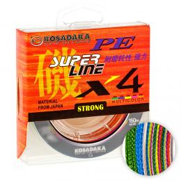 Плетеный шнур KOSADAKA SUPER PE X4 150м. 0.25мм. MULTICOLOR