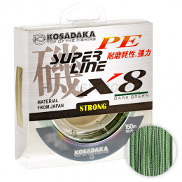 Плетеный шнур KOSADAKA SUPER PE X8 150м. 0.16мм. DARK GREEN