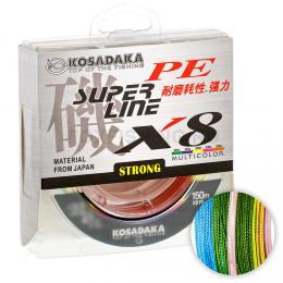 Плетеный шнур KOSADAKA SUPER PE X8 150м. 0.20мм. MULTICOLOR