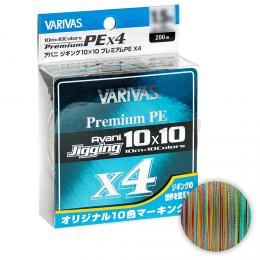 Плетеный шнур Varivas Avani Jigging 10x10 Premium PE x4 200м. 0.185мм. MULTICOLOR