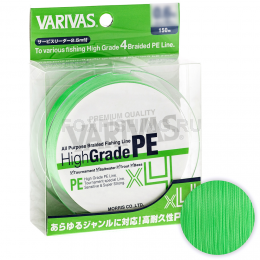 Плетеный шнур Varivas High Grade X4 150м. 0.148мм. FLASH GREEN