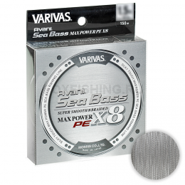 Плетеный шнур VARIVAS SEA BASS MAX POWER SUPER SMOOTH 8 PE X8 150m 1.5 Stealth Gray