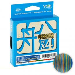 Плетеный шнур Ygk Veragass FUNE X4 150м. 1.0 PE MULTICOLOR