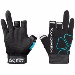 Перчатки YOSHI ONYX GLOVES Черно-бирюзовый 3 открытых пальцев