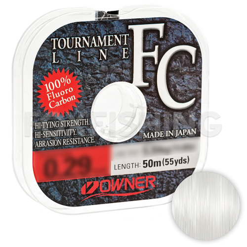 Леска флюрокарбоновая OWNER TOURNAMENT LINE FLUOROCARBON 50м. 0.14мм. CLEAR фото №1