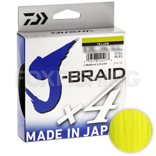 Плетеный шнур DAIWA J-BRAID X4 135м. 0.25мм. YELLOW фото №1