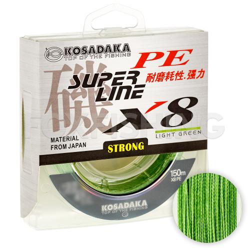 Плетеный шнур KOSADAKA SUPER PE X8 150м. 0.30мм. LIGHT GREEN фото №1