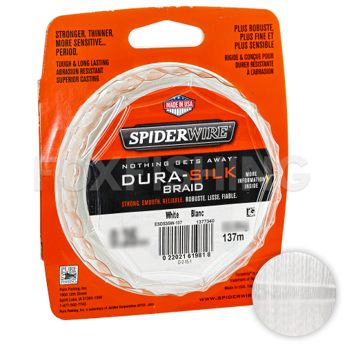 Плетеный шнур SPIDERWIRE DURA-SILK 137м. 0.30мм. WHITE фото №2