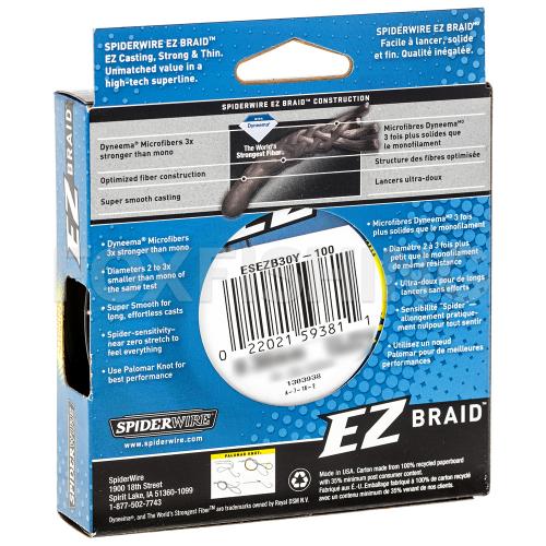 Плетеный шнур SPIDERWIRE EZ 100м. 0.35мм. HI VIS YELLOW фото №2