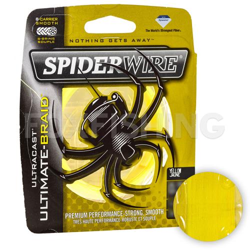 Плетеный шнур SPIDERWIRE ULTRACAST ULTIMATE-BRAID 8 110м. 0.30мм. LOW VIS YELLOW фото №1