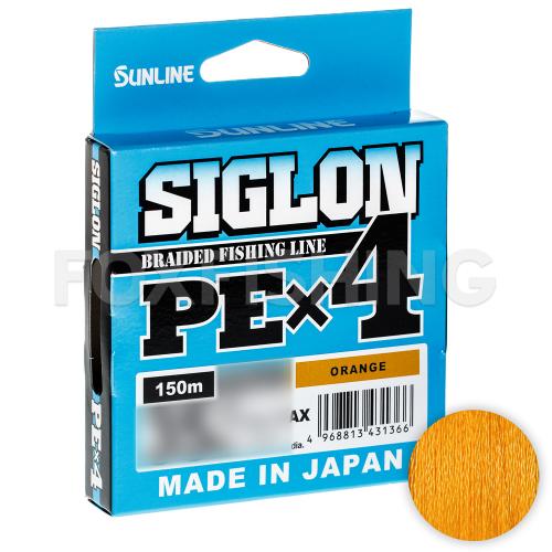 Плетеный шнур SUNLINE SIGLON X4 150м. 0.121 ORANGE фото №1